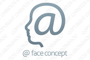 At Symbol Sign Face Concept