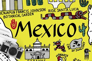 Map of Mexico - cartoon illustration