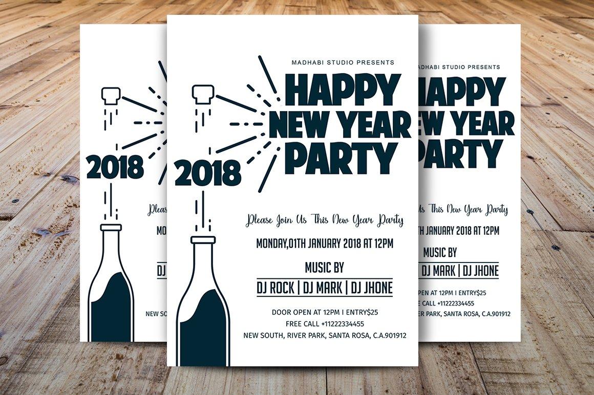 Minimal New Year Party Flyer ~ Flyer Templates ~ Creative Market