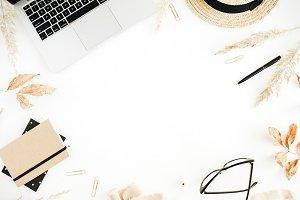 Beige feminine workspace