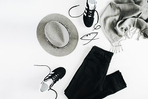 Black and grey female clothes