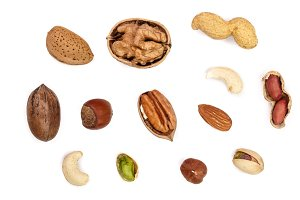 mix of different nuts isolated on white background, Flat lay pattern, Top view