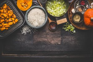 Pumpkin risotto cooking ingredients