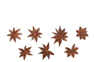 Star anise isolated on white background with copy space for your text. Top view. Flat lay pattern