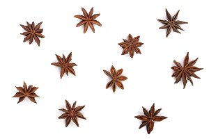 Star anise isolated on white background. Top view. Flat lay pattern
