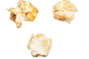 Popcorn isolated on white background with clipping path