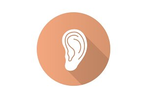 Human ear flat design long shadow glyph icon