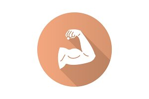 Male bicep flat design long shadow glyph icon