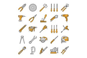 Construction tools color icons set