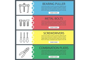 Construction tools web banner templates set