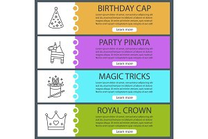Children's party accessories web banner templates set