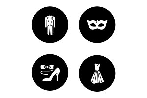 Party clothes glyph icons set