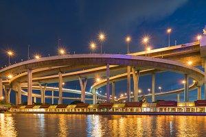 Bhumibol Bridge in twilight.