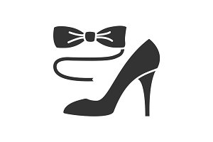 Bow tie and high heel shoe glyph icon