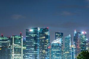 Singapore cityscape at night.