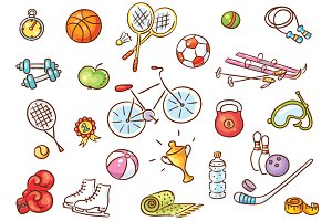 Set of Cartoon Sport Things