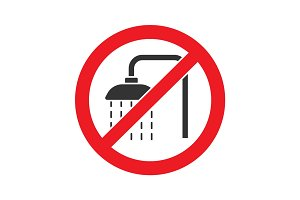 Forbidden sign with shower faucet glyph icon