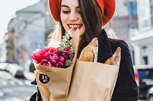 brunette in a red beret by  in Beauty & Fashion