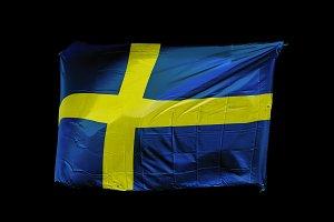 Swedish Flag of Sweden over black