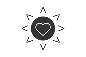 Sun with heart glyph icon