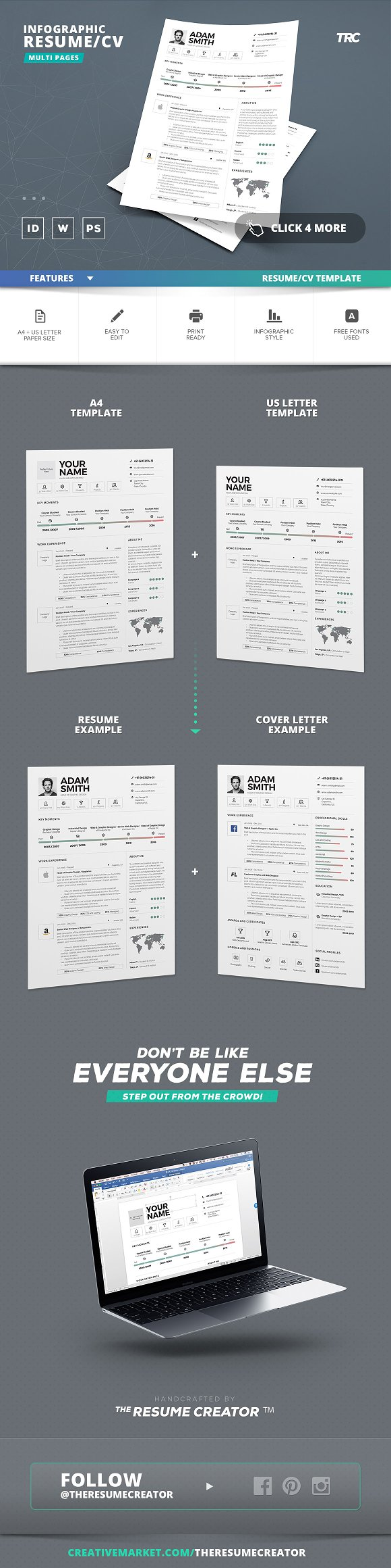 Infographic Resume/Cv Template Vol.9 ~ Resume Templates ~ Creative ...