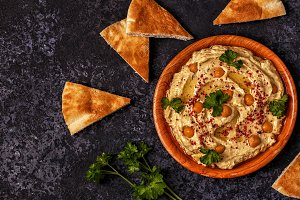 hummus with parsley