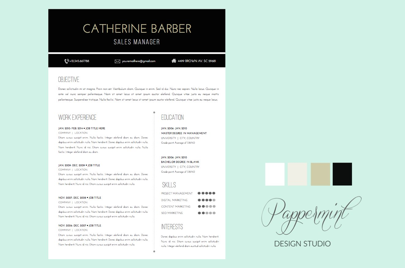 Resume Template + Cover Letter WORD ~ Resume Templates ~ Creative Market