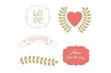 Love elements wedding clipart