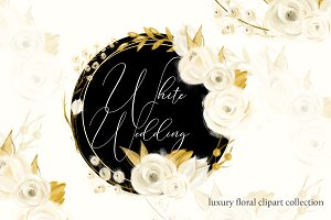 White Wedding Floral Clipart