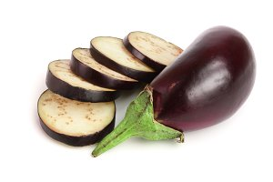 sliced eggplant or aubergine vegetable isolated on white background