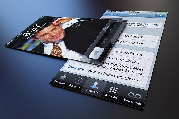 Iphone business card business card templates creative market reheart Gallery