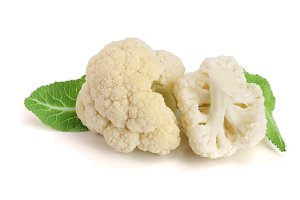 Piece of cauliflower with leaf isolated on white background macro