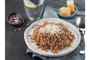 Buckwheat risotto with dried mushrooms