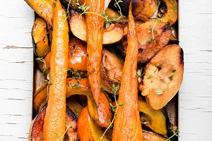 Baked pumpkin with carrots