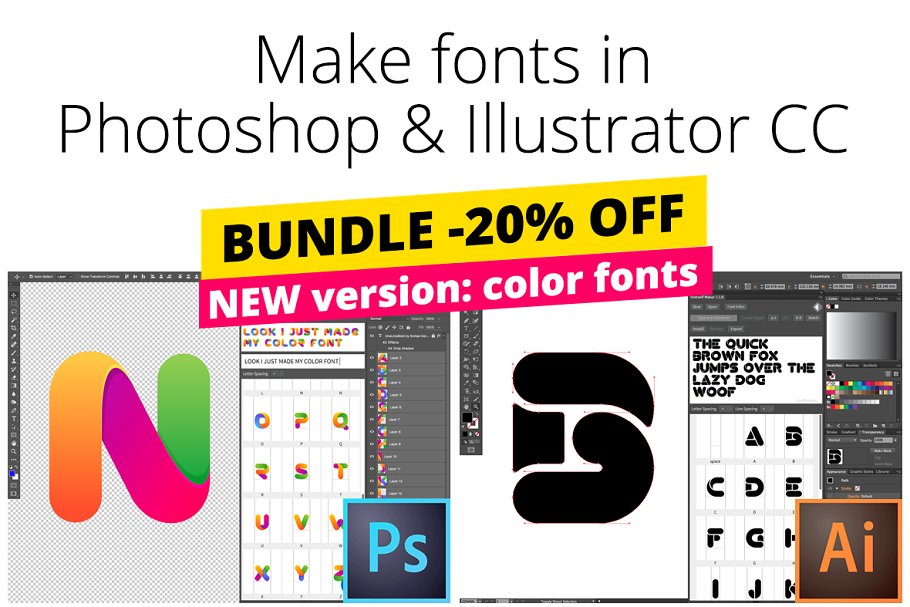 Fontself Maker Bundle for PS & AI ~ Illustrator Add-Ons