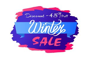 Discount - 45% Winter Sale Promo Label Design Text