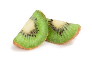 Slice of fresh kiwi fruit isolated on white background