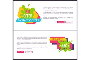 Big Offer Poster Webpage Vector Illustration Set