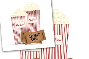 Popcorn and Tickets Vector Design