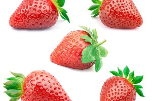 Set of five strawberries isolated