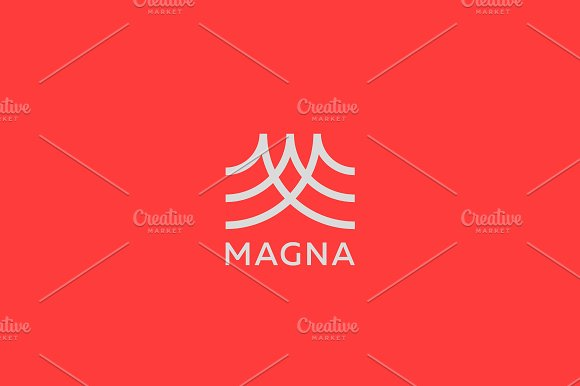 Abstract Letter M Logo Design Line Creative Wave Symbol Universal Vector Icon Roof Mount Camp Logotype