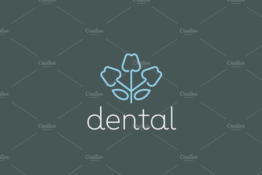Dentist logo design  Tooth linear vector logotype  Dental clinic flower  symbol icon