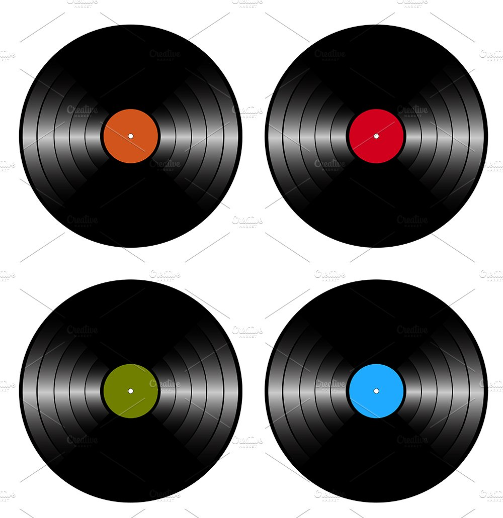 vinyl records illustrations creative market. Black Bedroom Furniture Sets. Home Design Ideas