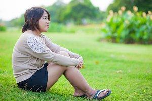 Portrait Asian woman sitting