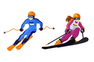 alpine country skiing girl and boy isolated on white vector skiing sportsmen