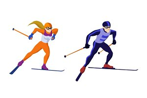 Cross country skiing girl and boy isolated on white vector skiing sportsmen
