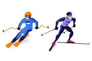 Cross country and alpine skiing boys isolated on white, vector skiing sportsmen