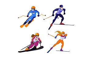 Cross country and alpine skiing girls and boys isolated on white, vector skiing sportsmen