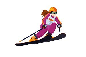 Alpine skiing girls isolated on white, vector skiing sportsmen