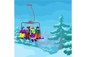 Ski lift with cartoon people in ski resort vector landskape with mountains, fir trees and snow and people on ski lift